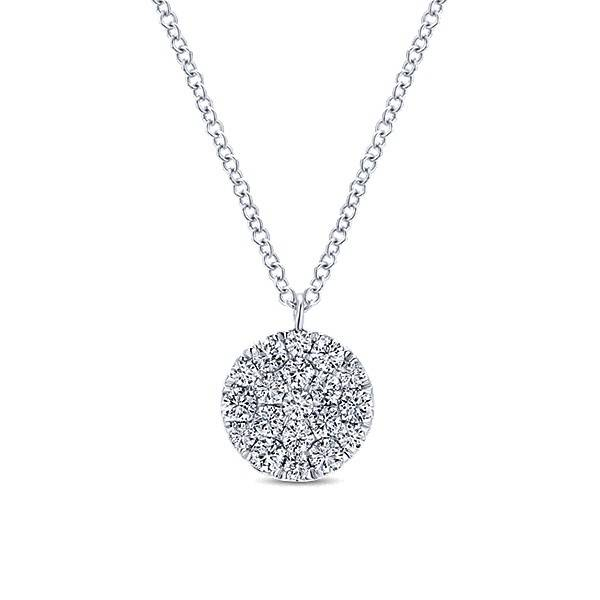Gabriel & Co NK5334 diamond cluster pendant