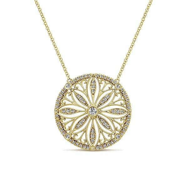 Gabriel & Co NK4858 yellow gold necklace