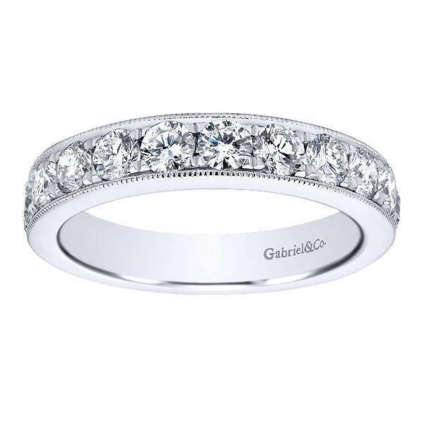 Gabriel & Co AN12080 milgrain beadset diamond band