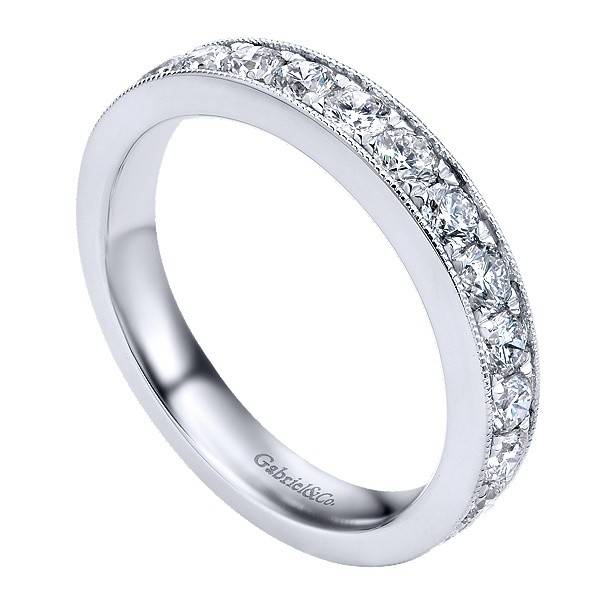 Gabriel & Co AN12079 milgrain beadset diamond band