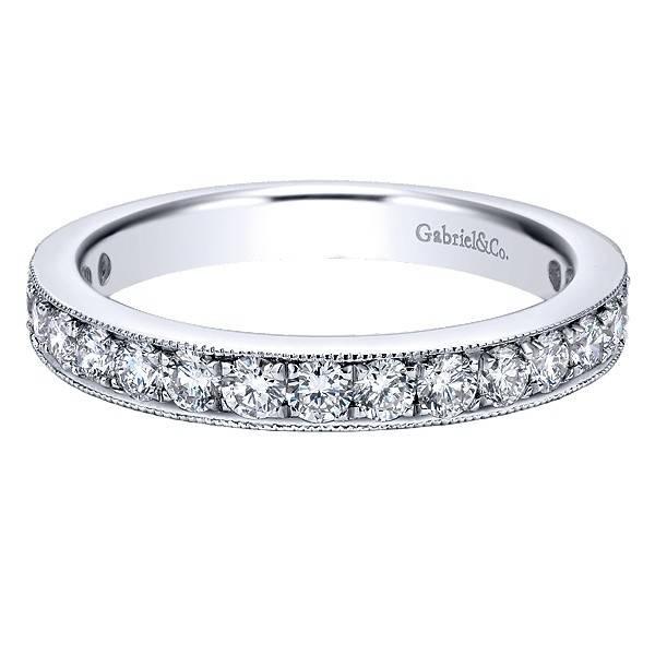 Gabriel & Co AN12078 milgrain beadset diamond band