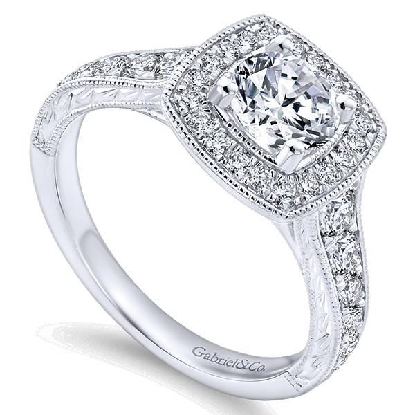 Gabriel & Co ER8668 Milgrain Halo Ring