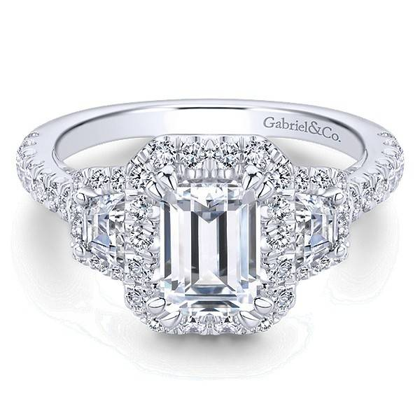 ER13443 3 Stone Emerald Cut Halo