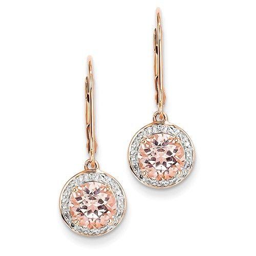 Q Gold XE2163 morganite diamond earrings