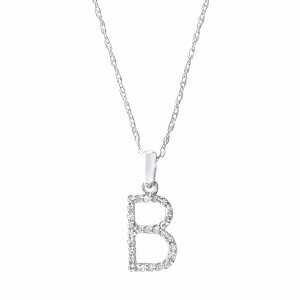 CP457 White Gold Diamond Initial Necklace
