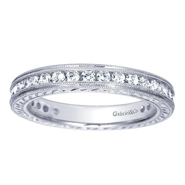 Gabriel & Co AN3094 engraved  eternity band 0.85ct 14k