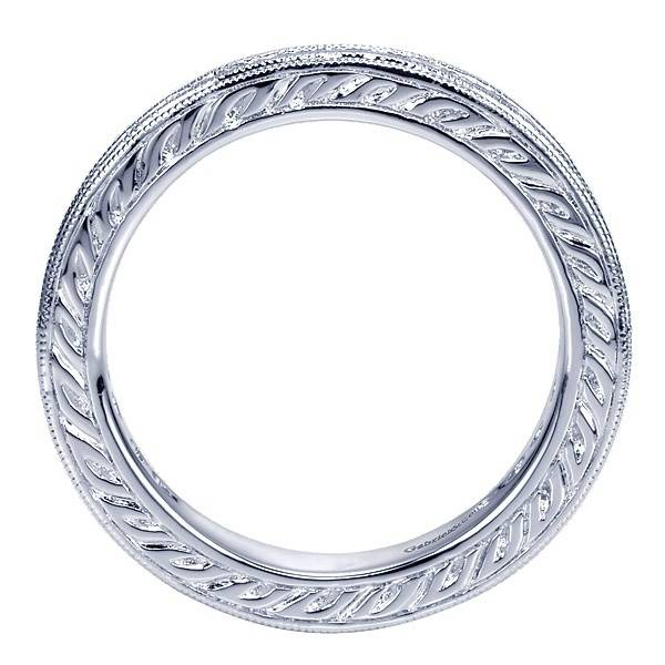 Gabriel & Co AN3094 engraved milgrain diamond band