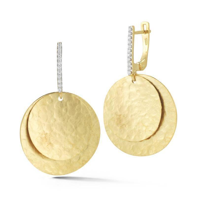 I. Reiss ER3176Y yellow gold disc drop earrings