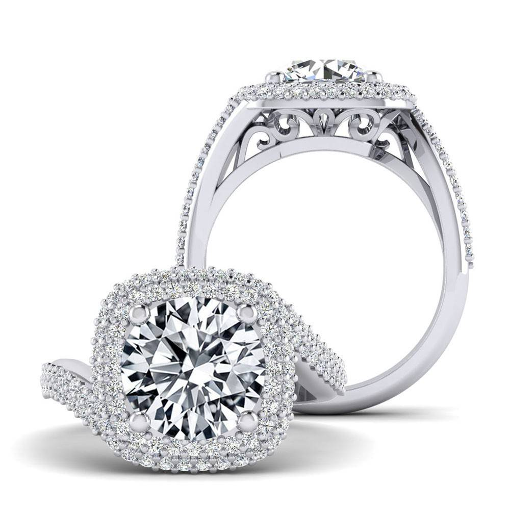 double halo bypass engagement ring freedman jewelers. Black Bedroom Furniture Sets. Home Design Ideas