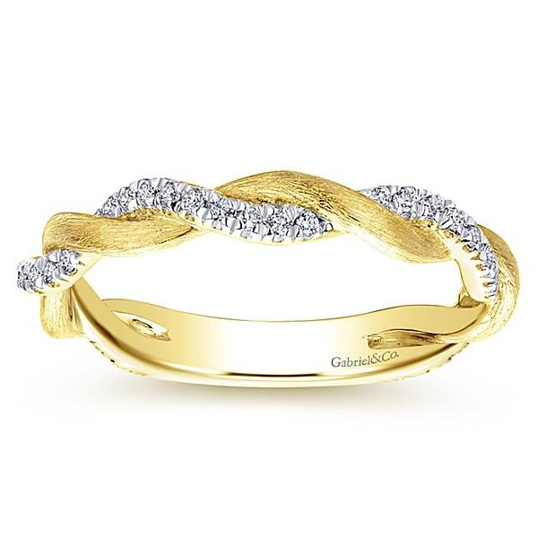 Gabriel & Co LR50886 yellow gold twisted band