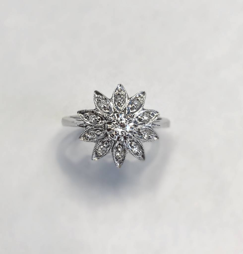 Freedman Vintage flower diamond ring