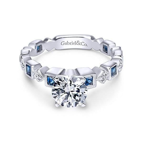 ER5660 alternating diamond sapphire engagement ring setting