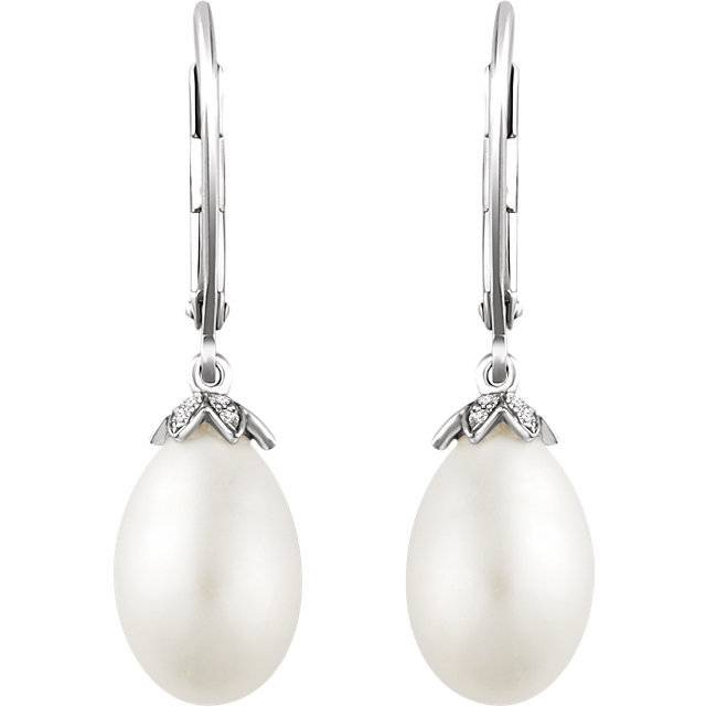 Stuller 652770 pearl and diamond drop earring