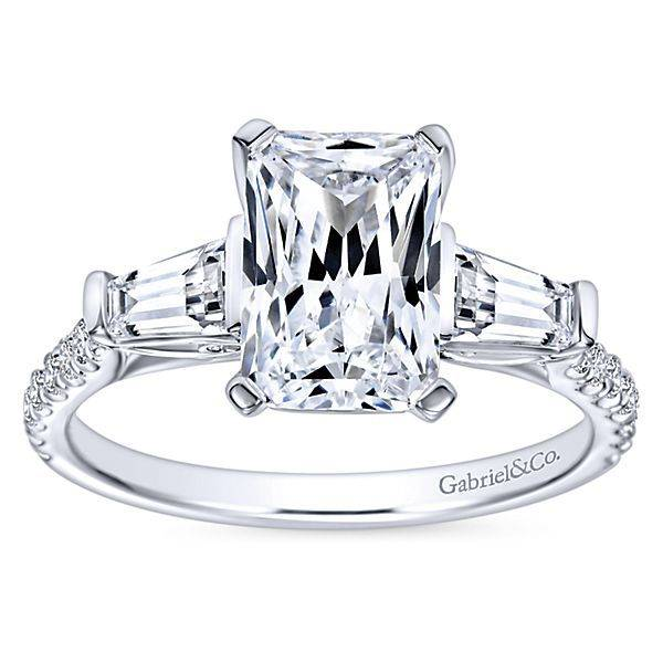 Gabriel & Co ER9047 emerald and tapered baguette engagement ring setting