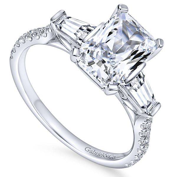 Emerald cut with tapered baguette engagement ring - Freedman Jewelers