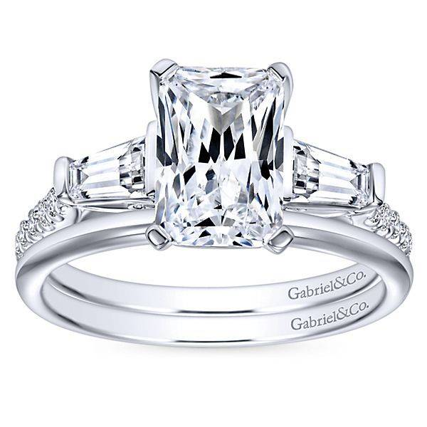 Gabriel Co Er9047 Emerald And Tapered Baguette Engagement Ring Setting
