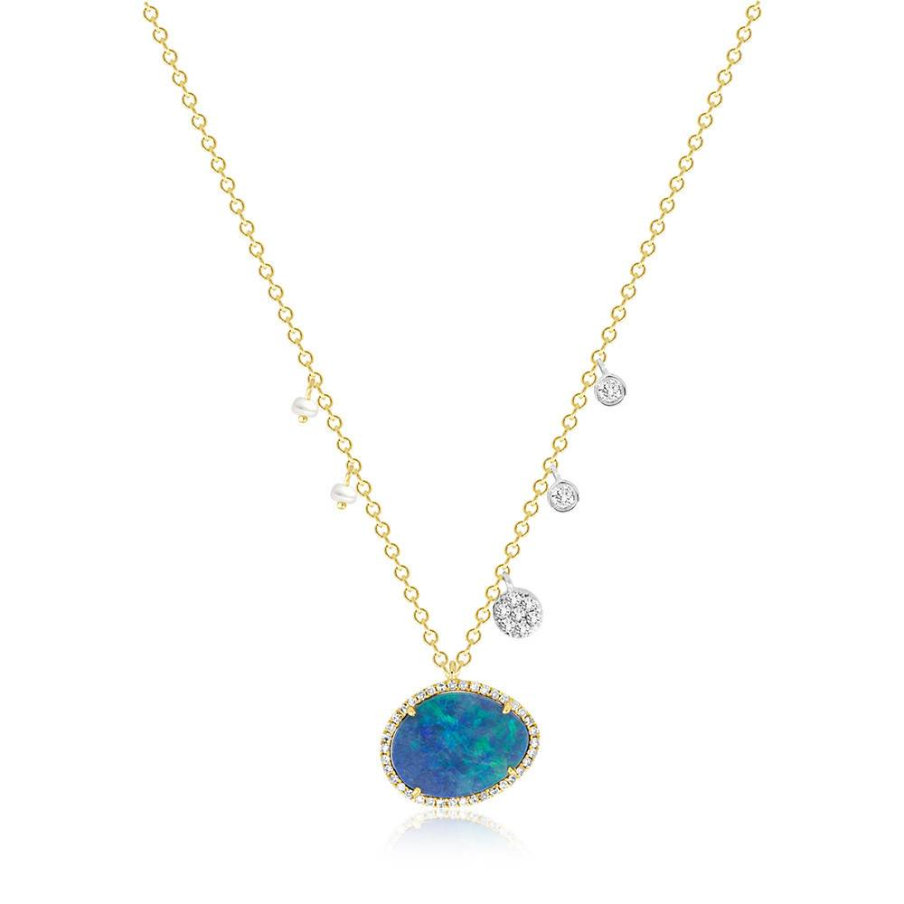 N8594 opal, pearl and diamond necklace