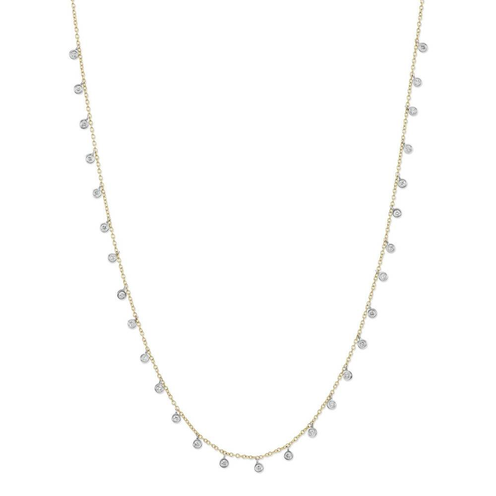N9933 hanging diamond bezel necklace