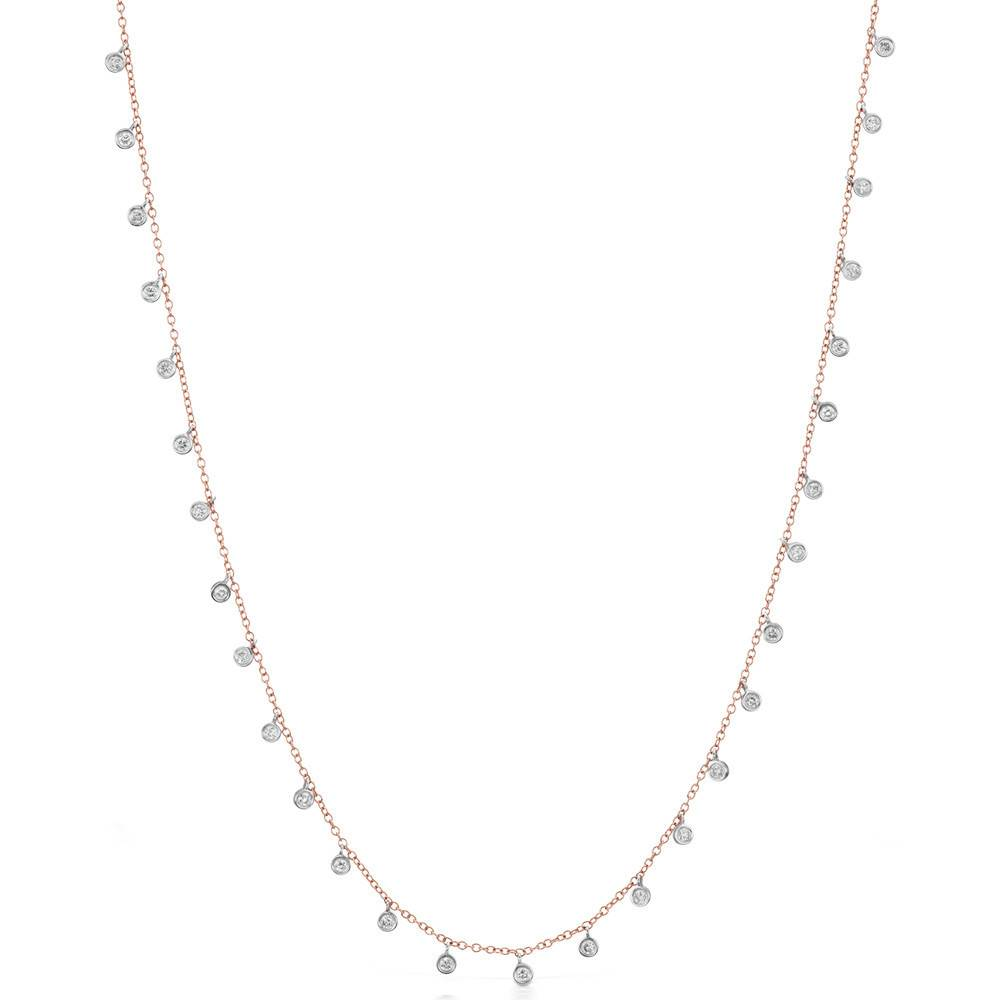 Meira T N9933 hanging diamond bezel necklace
