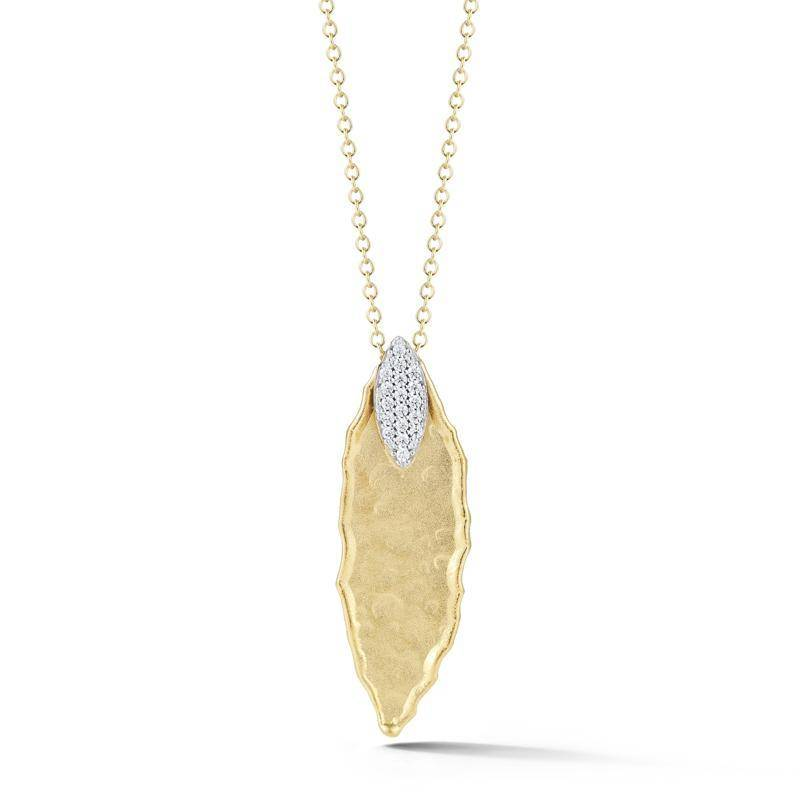 I. Reiss IR3570Y yellow gold diamond leaf pendant