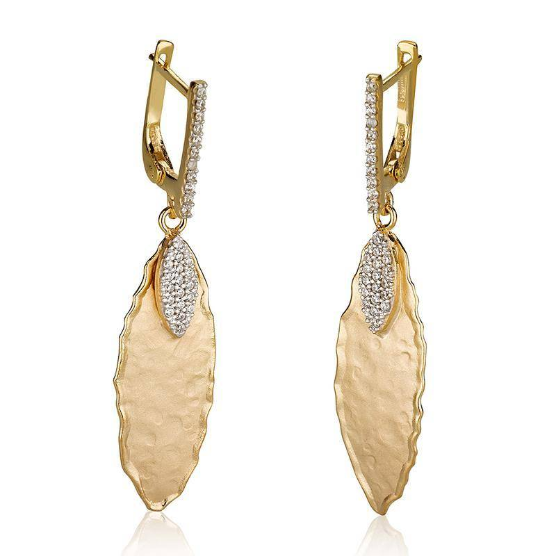 I Reiss Er3071y Gold Leaf Earrings 0 35 Ct Tw