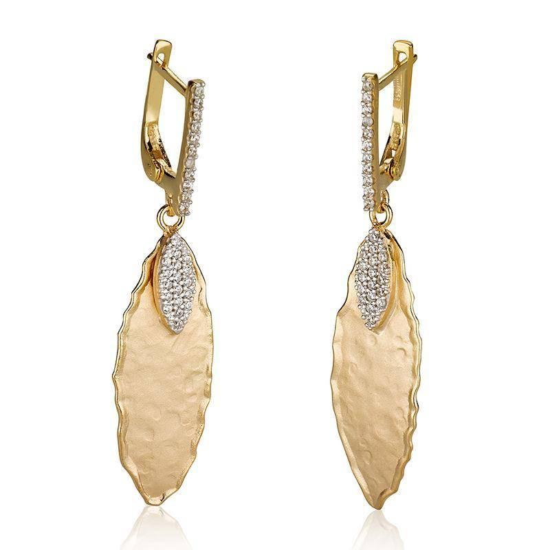 I. Reiss ER3071Y gold leaf earrings 0.35 ct tw