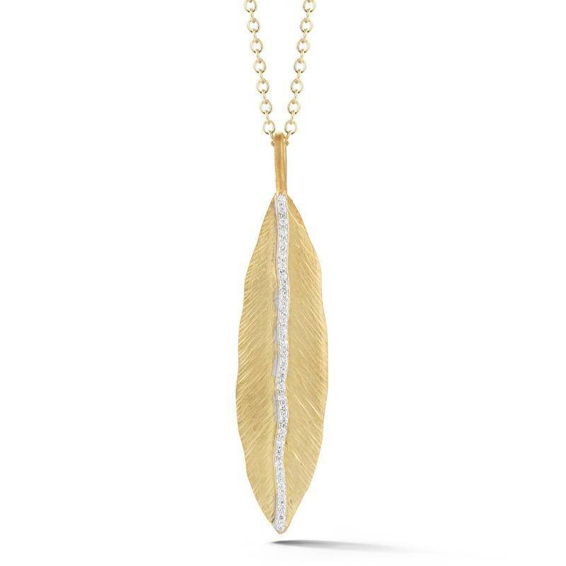 I. Reiss IR3557Y gold leaf pendant