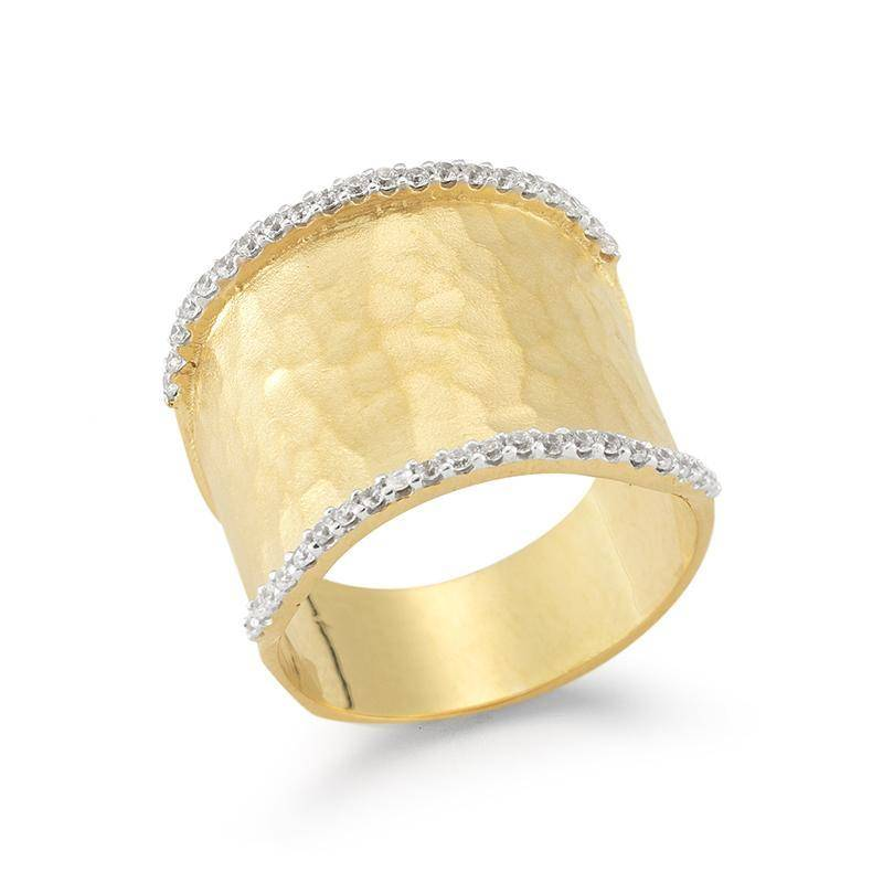 R2546Y wide hammered gold and diamond ring