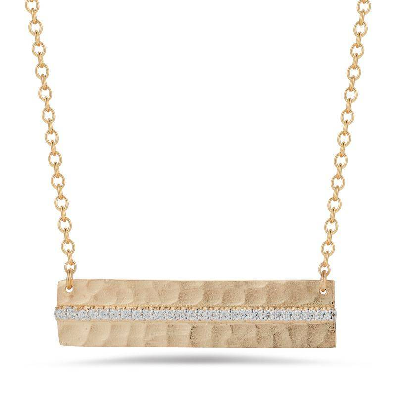 I. Reiss IR3615Y hammered diamond bar necklace