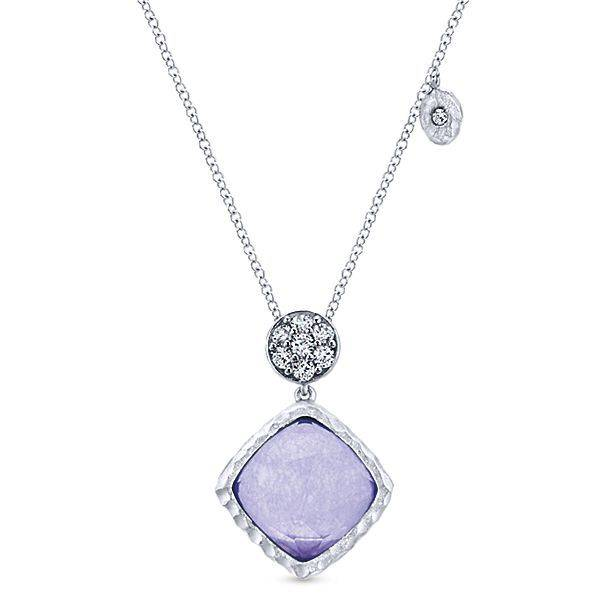 NK4748 silver rock crystal purple jade necklace