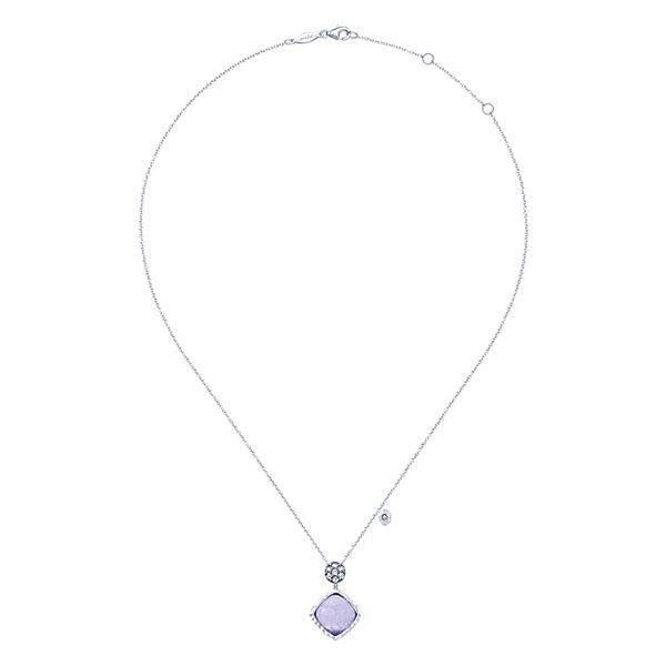 NK4748 silver rock crystal purple jade necklace