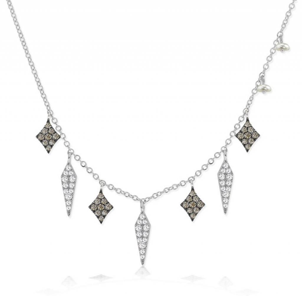 Meira T N10373 White Diamond and Black Spike Necklace