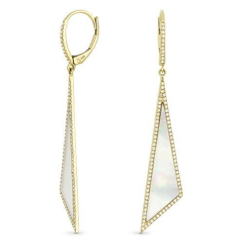 DE11233 mother of pearl and diamond earrings