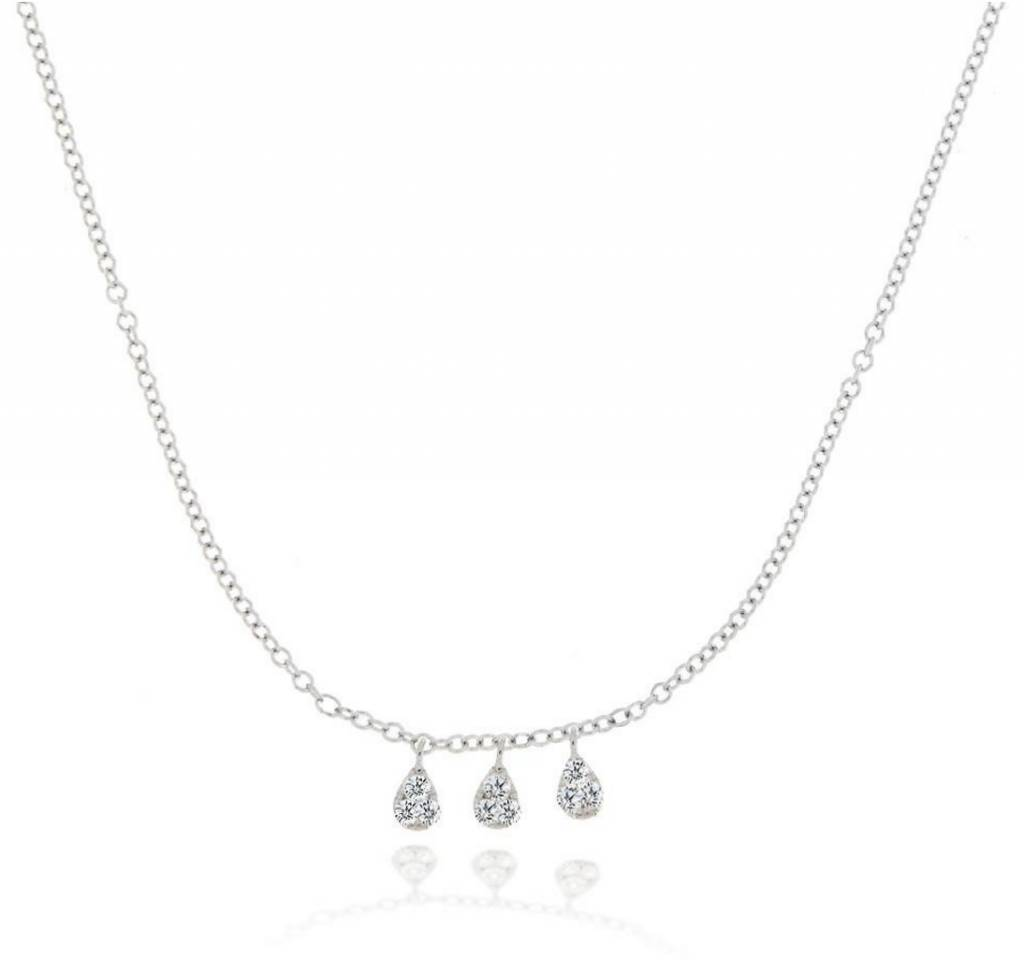 Meira T n10608 White Gold Tear Drop Diamond Necklace
