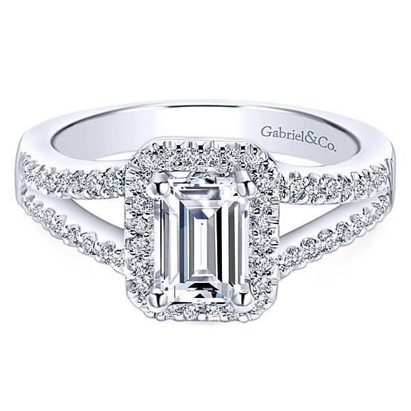 Gabriel & Co ER5874 split shank emerald halo engagement ring setting