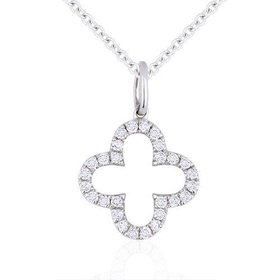 N1010W diamond clover shape pendant necklace