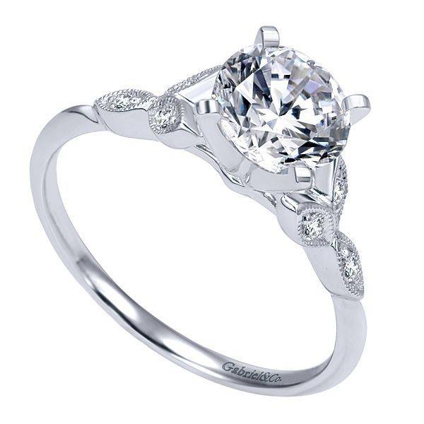 ER11747 milgrain floral style engagement ring setting