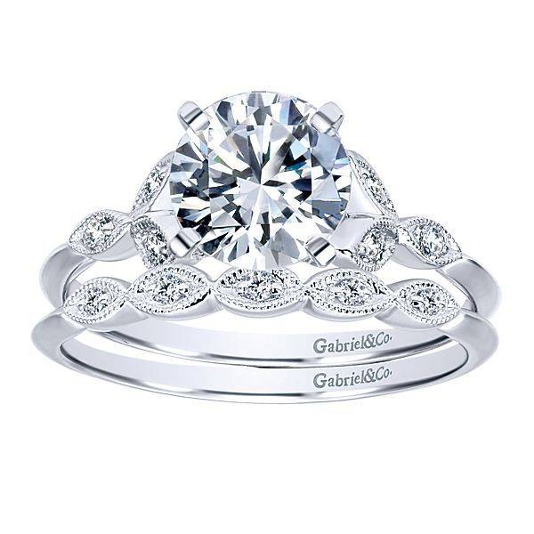 Gabriel & Co ER11747 milgrain floral style engagement ring setting