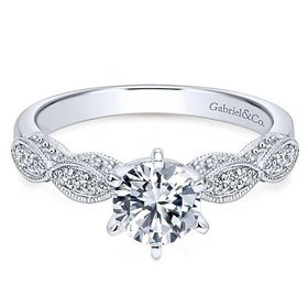 ER3848 Round Straight Victorian Engagement Ring