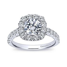 ER7480 Low Set Round Halo Engagement Ring