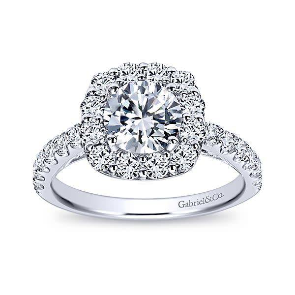 Gabriel & Co ER7480 Low Set Round Halo Engagement Ring