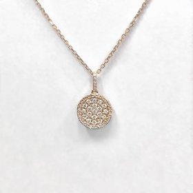 N9993 14kt rose gold diamond circle drop necklace