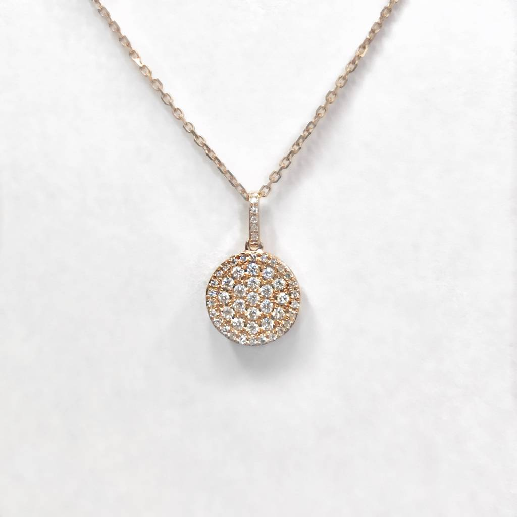 N9993 14kt rose gold diamond circle drop necklace