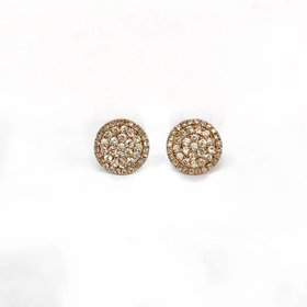 E9866 rose gold pave diamond circle cluster earrings