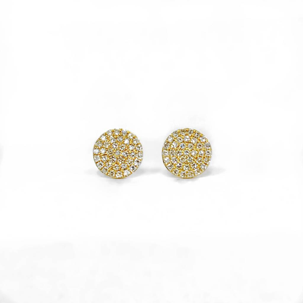 E11043 yellow gold diamond circle cluster earrings