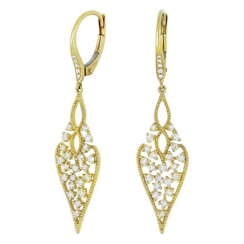 E1097Y  Yellow Gold Intricate Diamond Leaf Earrings