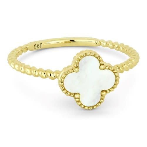 Madison L R1025 mother of pearl clover and gold cable style ring