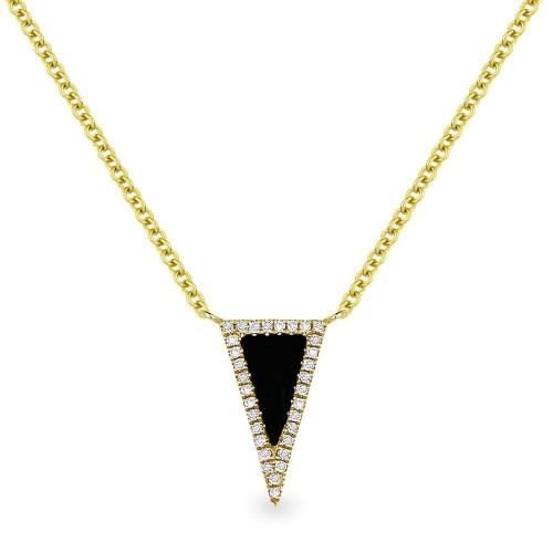 Madison L N1170 yellow gold black onyx & diamond necklace