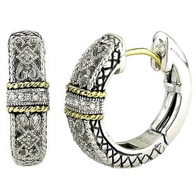 ACE141 silver, gold and diamond filigree hoop earrings
