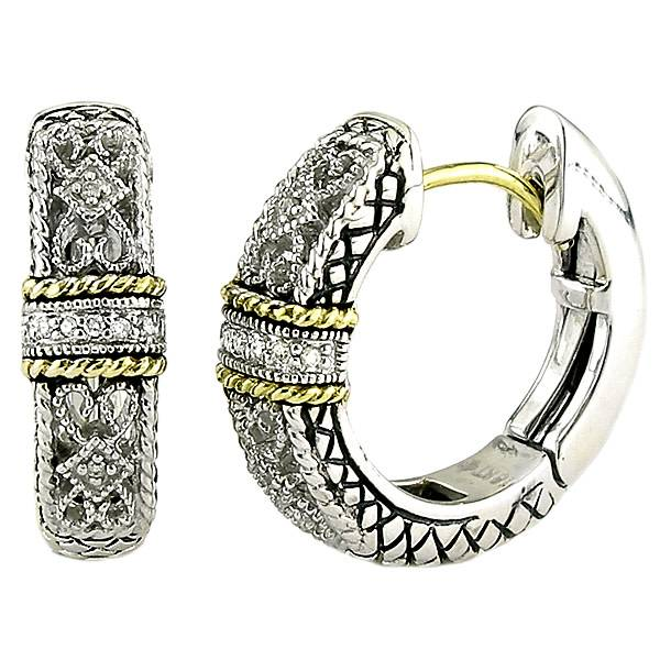Andrea Candela ACE141 silver, gold and diamond filigree hoop earrings